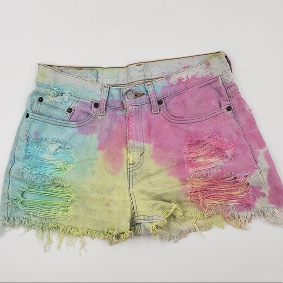 Levi's Pants - LEVIS Tie dye cut off distressed shorts Med  8/10